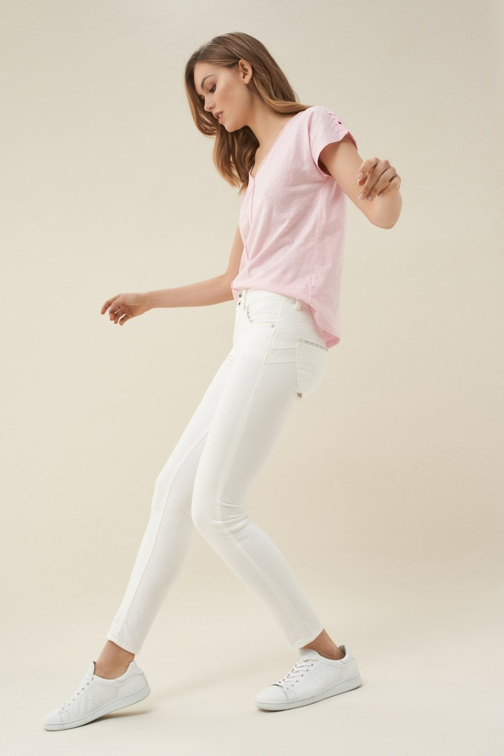 Push In Secret skinny jeans with coloured stitching - Salsa