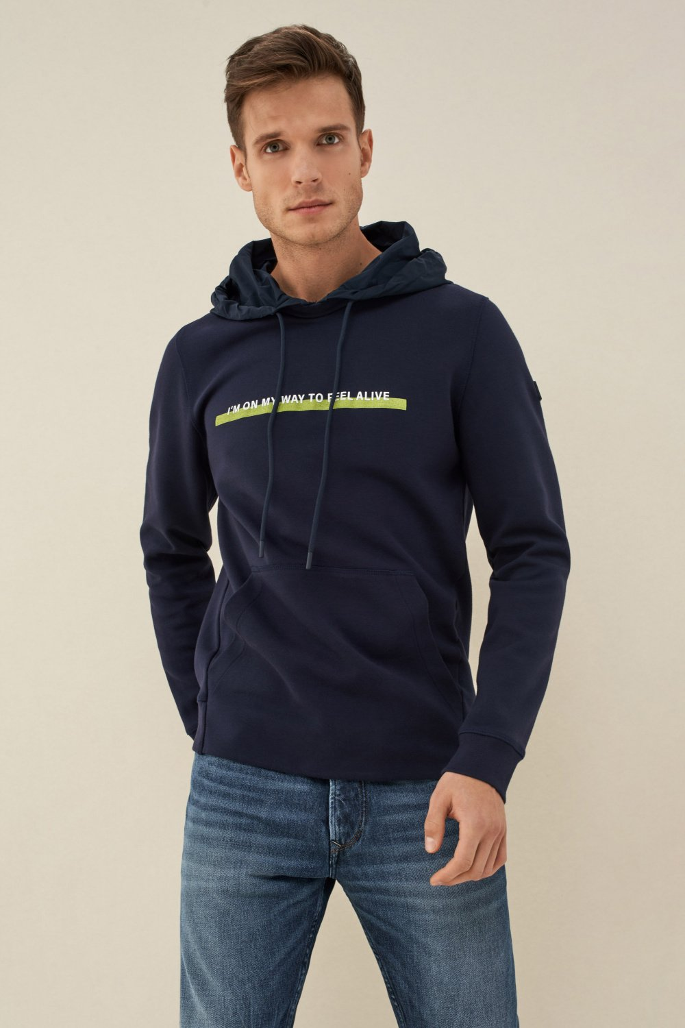 Slim fit Denim2GO sweater with hood - Salsa