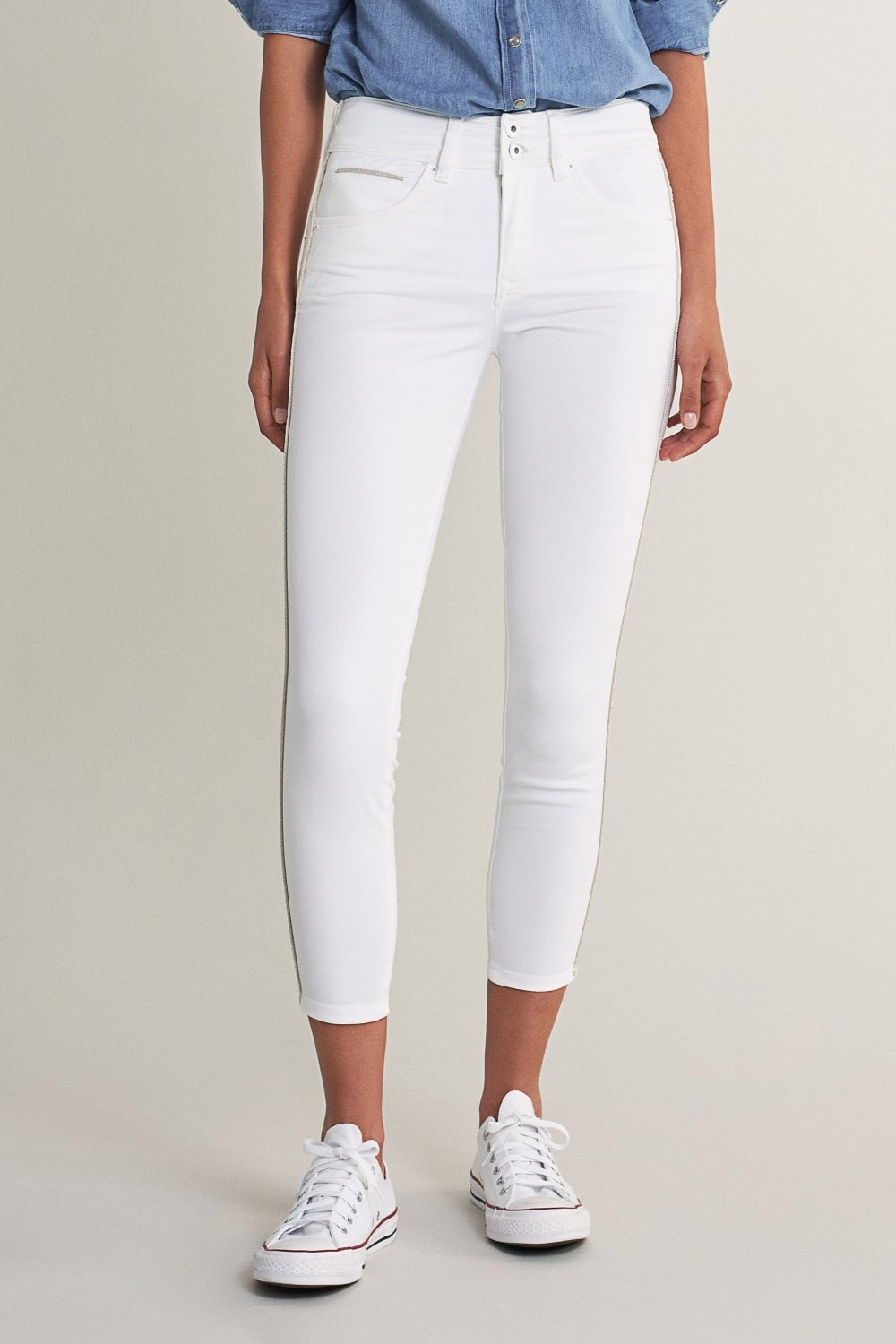 Jeans Push In Secret capri com detalhe lateral - Salsa