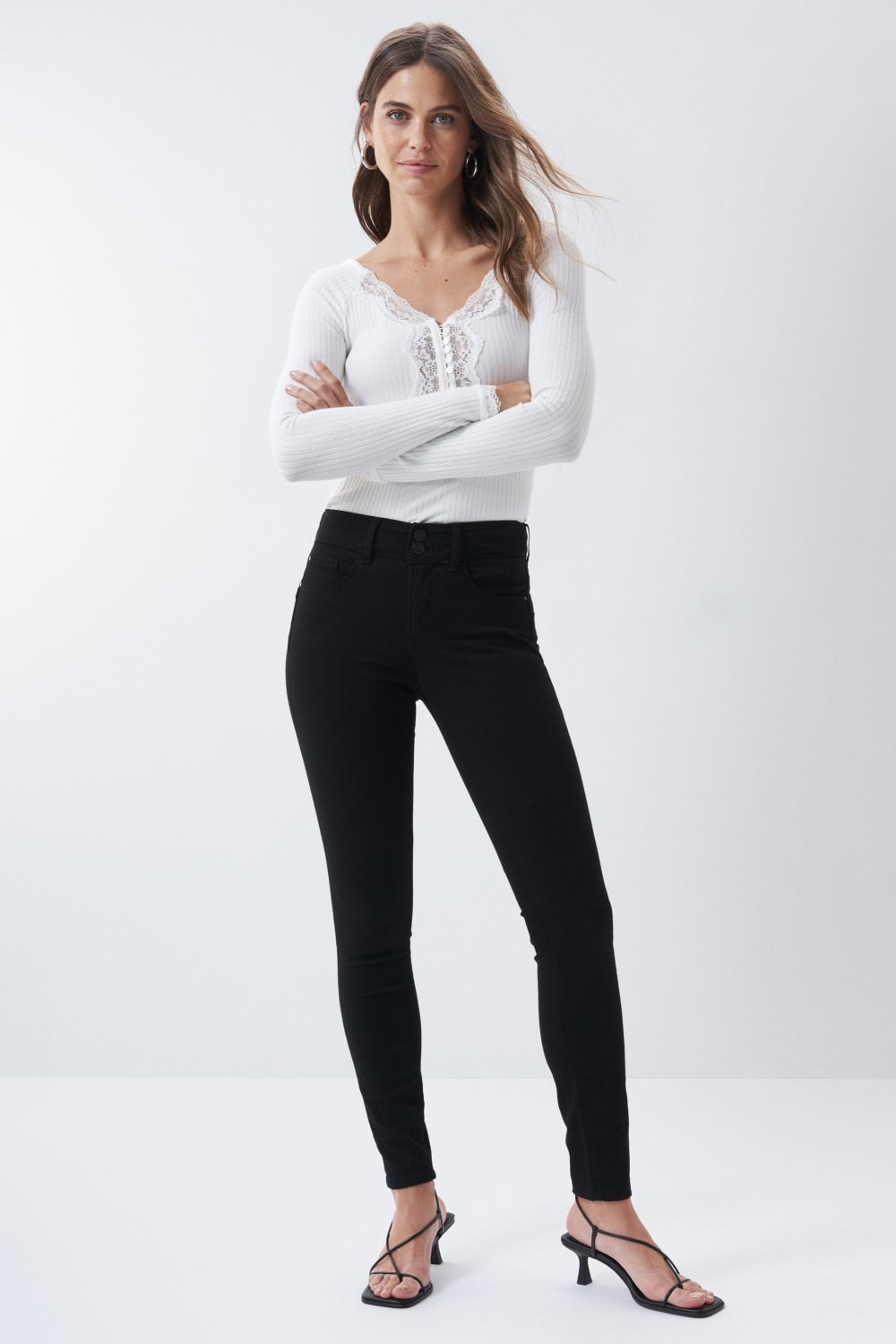Vaqueros Push In Secret skinny true black - Salsa