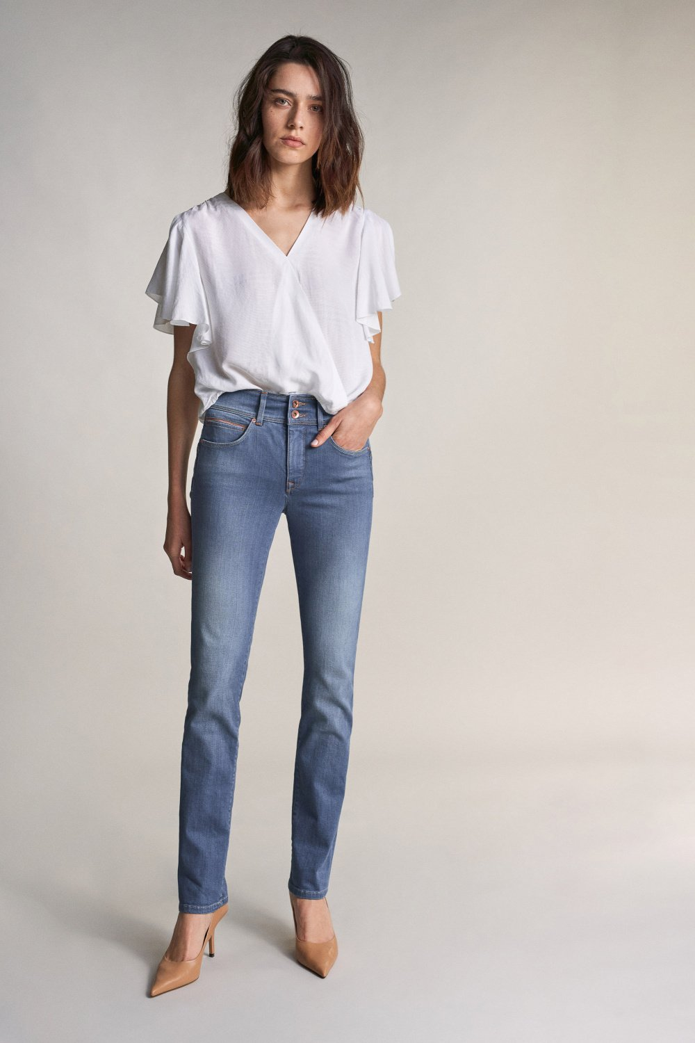 Jeans Push In Secret slim avec détail corail - Salsa