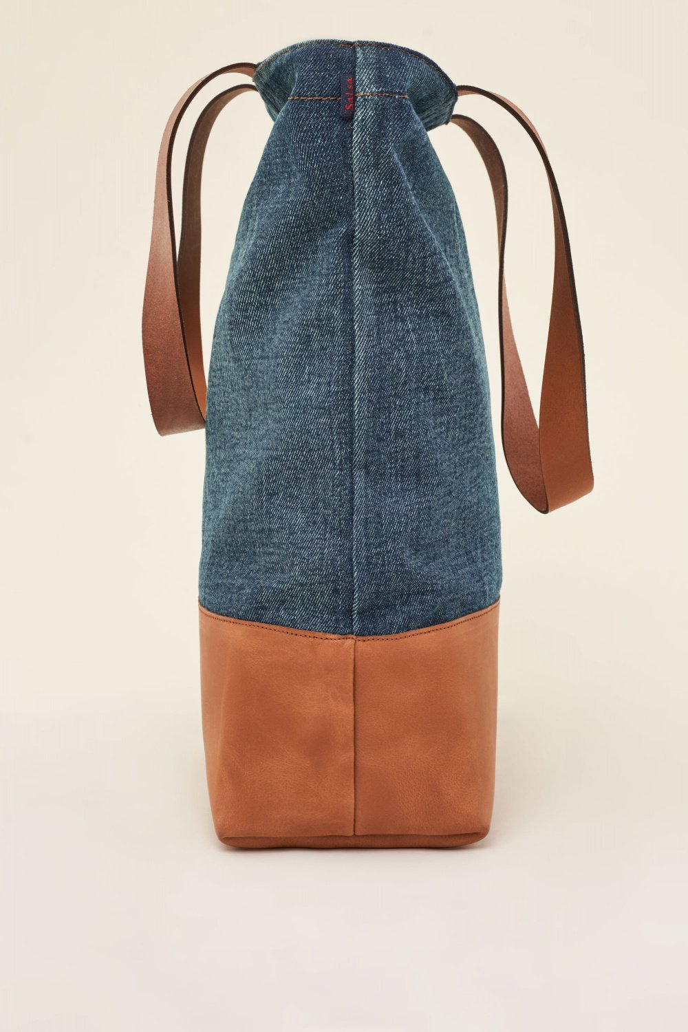 Handbag in organic denim and leather - Salsa