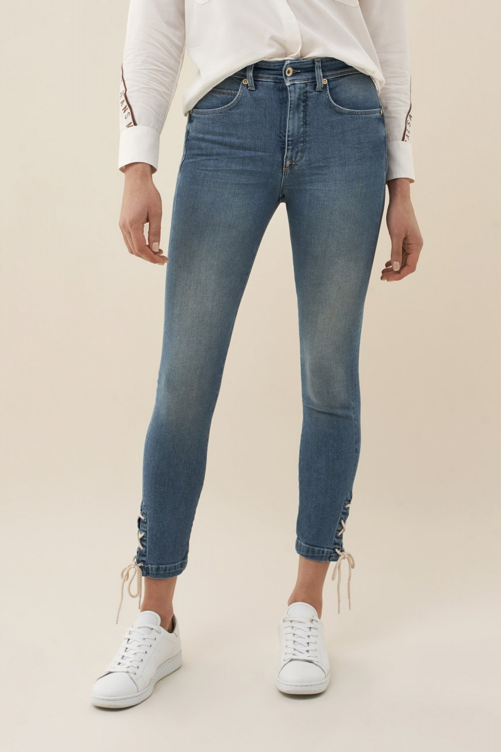 Push In Secret Glamour capri jeans with ribbon - Salsa