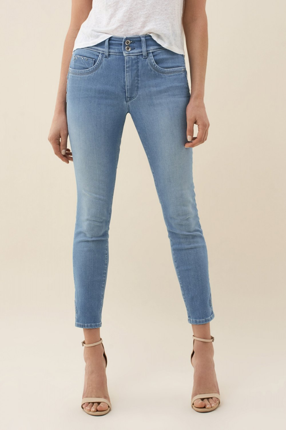 Push In Secret capri jeans with studs - Salsa