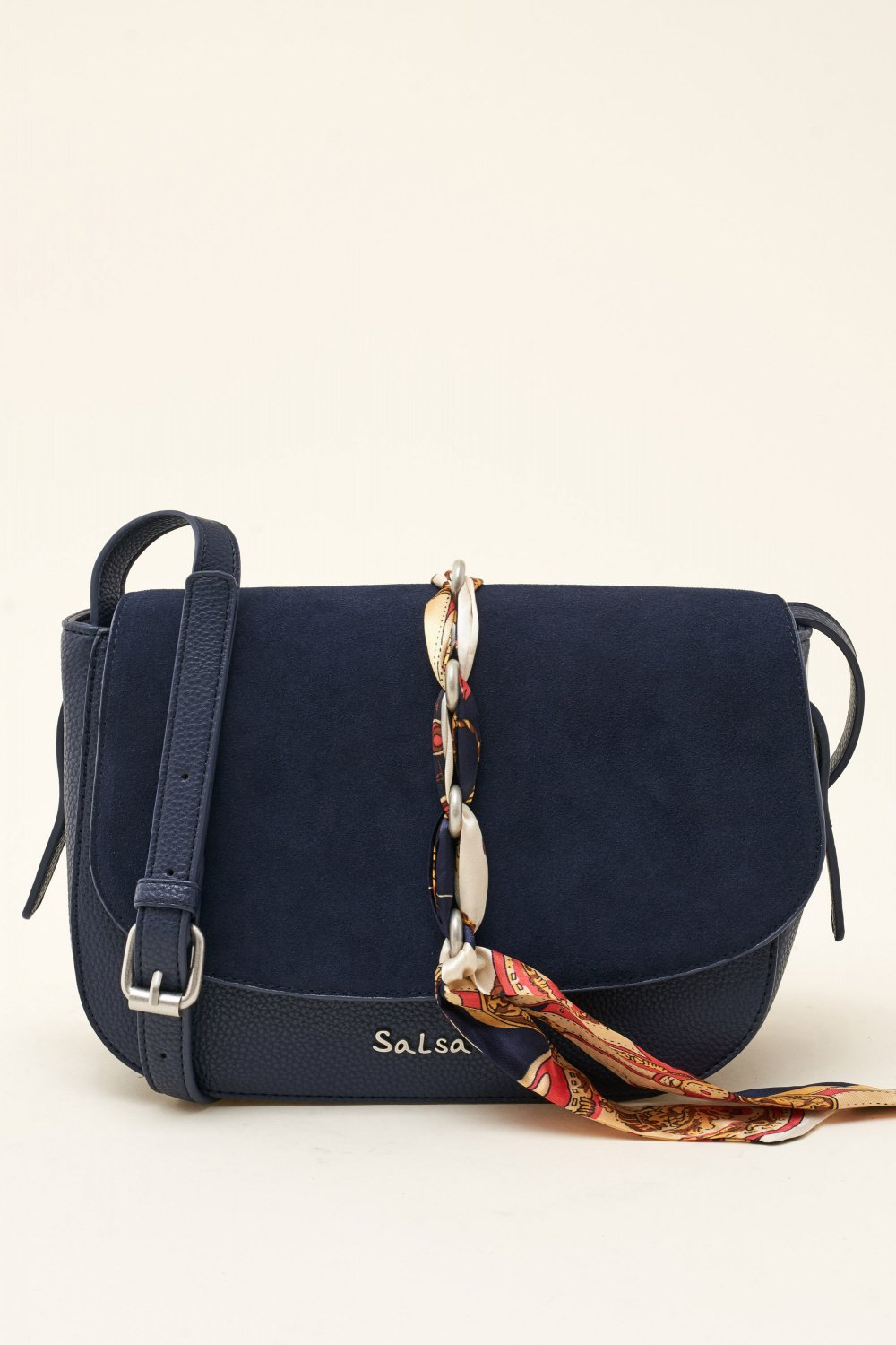 Suede bag with ribbon - Salsa