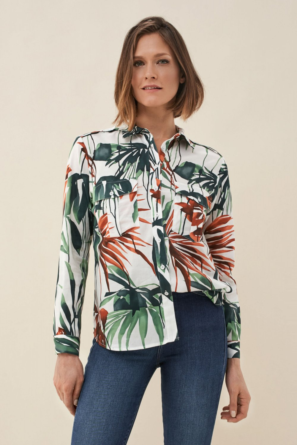 Regular fit shirt with leaf print - Salsa