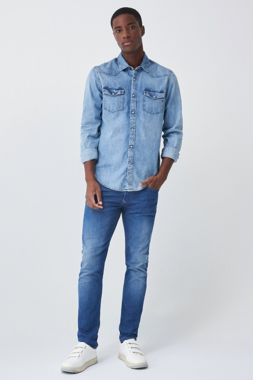 Camisa fit slim em denim - Salsa