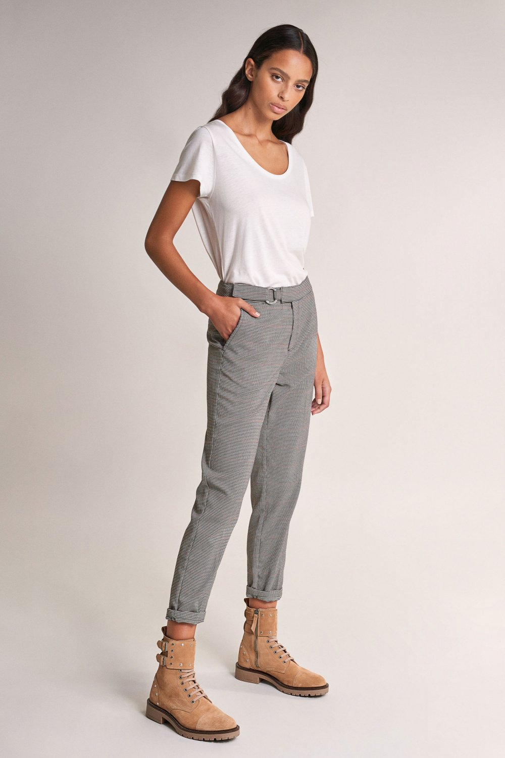 Houndstooth trousers with buckle - Salsa
