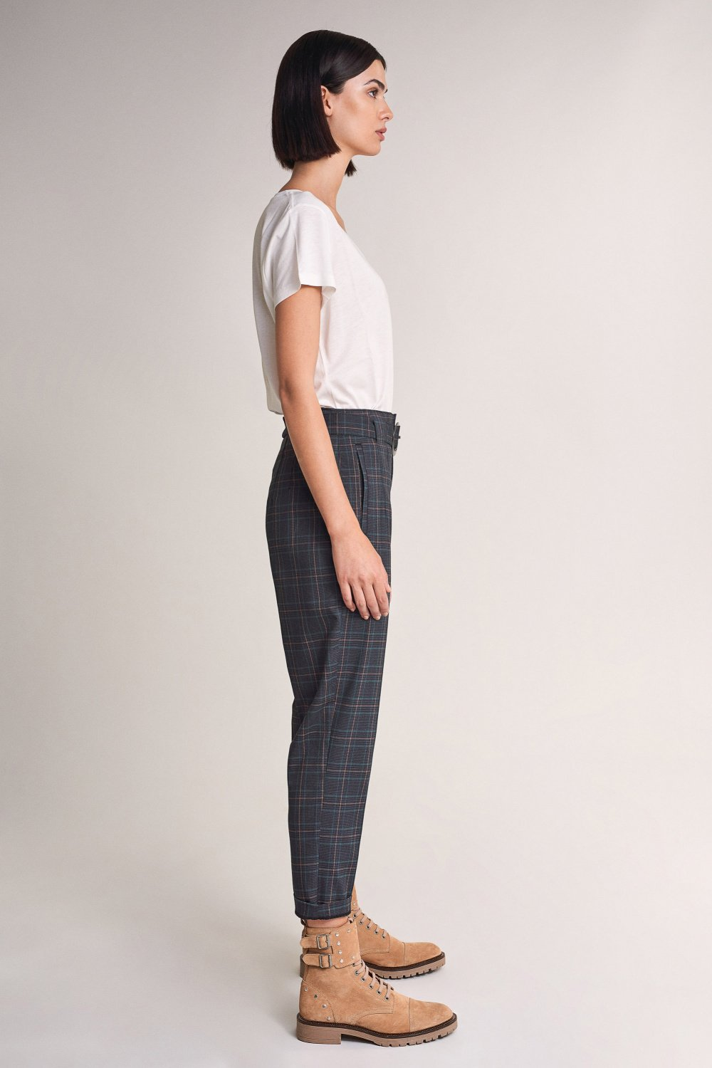 High-waisted checked trousers - Salsa