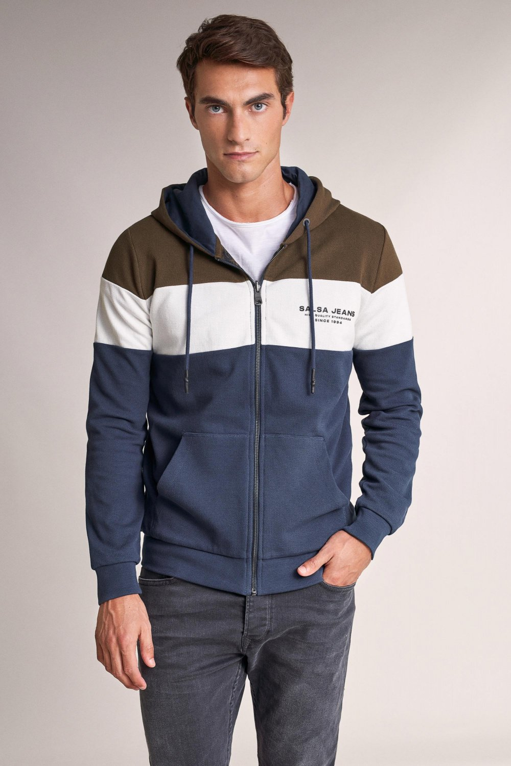 Reversible jacket with zip and colour strip - Salsa