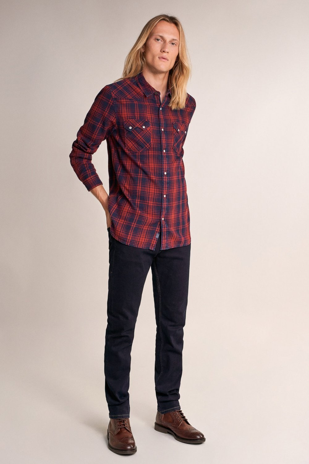 Slim fit checked shirt with pockets - Salsa