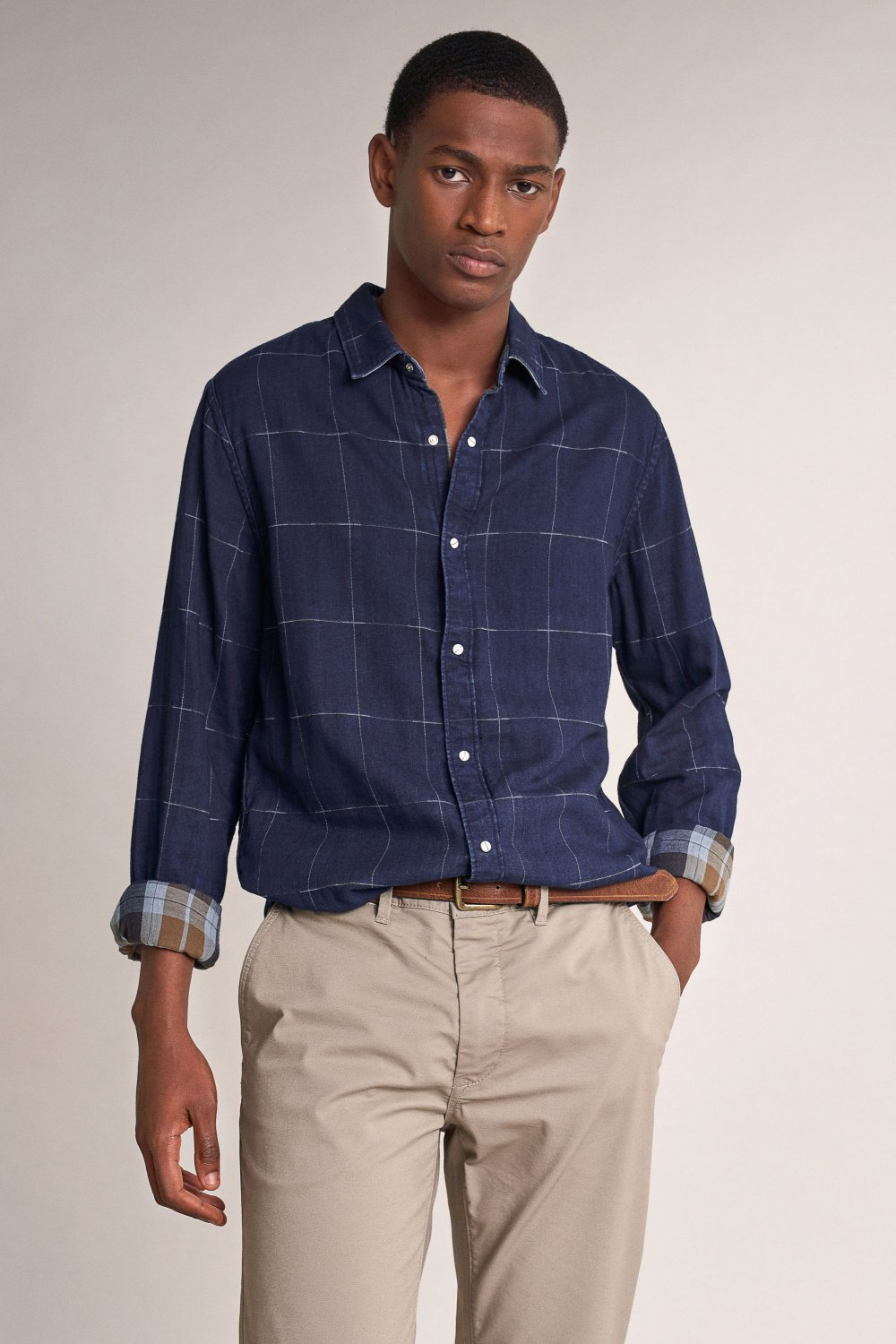 Reversible slim fit checked shirt - Salsa