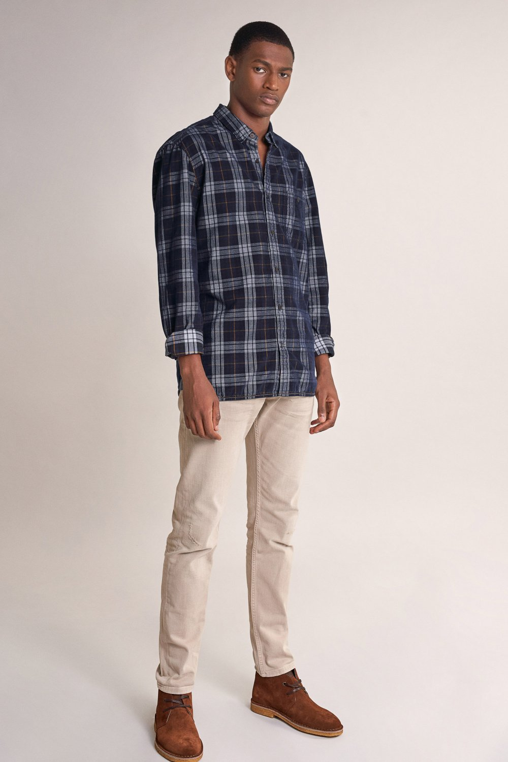 Slim fit corduroy checked shirt - Salsa