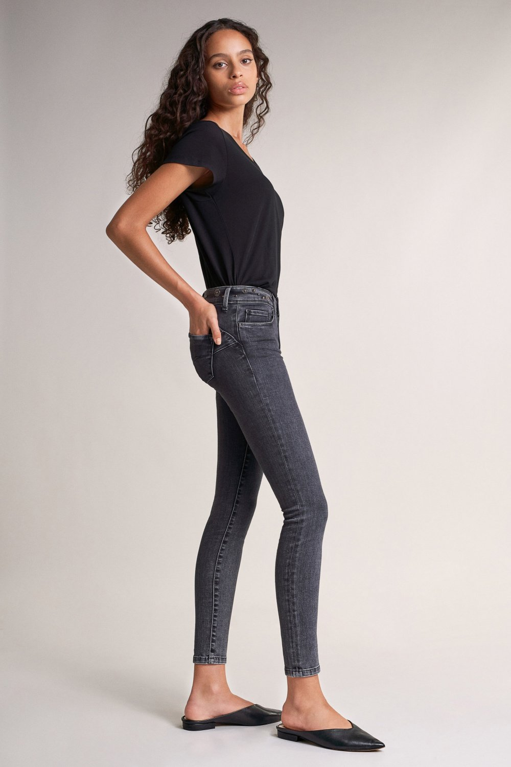 Push Up Wonder skinny jeans with detail on belt - Salsa