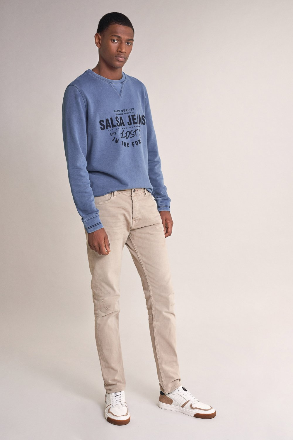 Clash slim carrot jeans with rips - Salsa