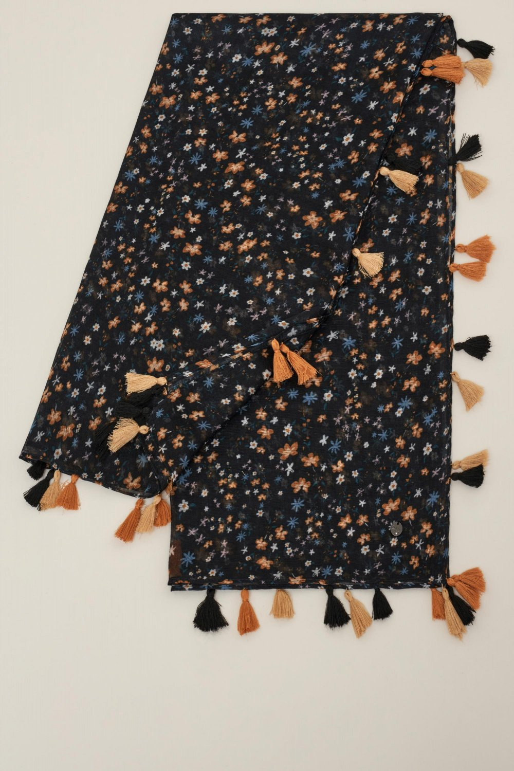 Floral scarf with pompoms - Salsa