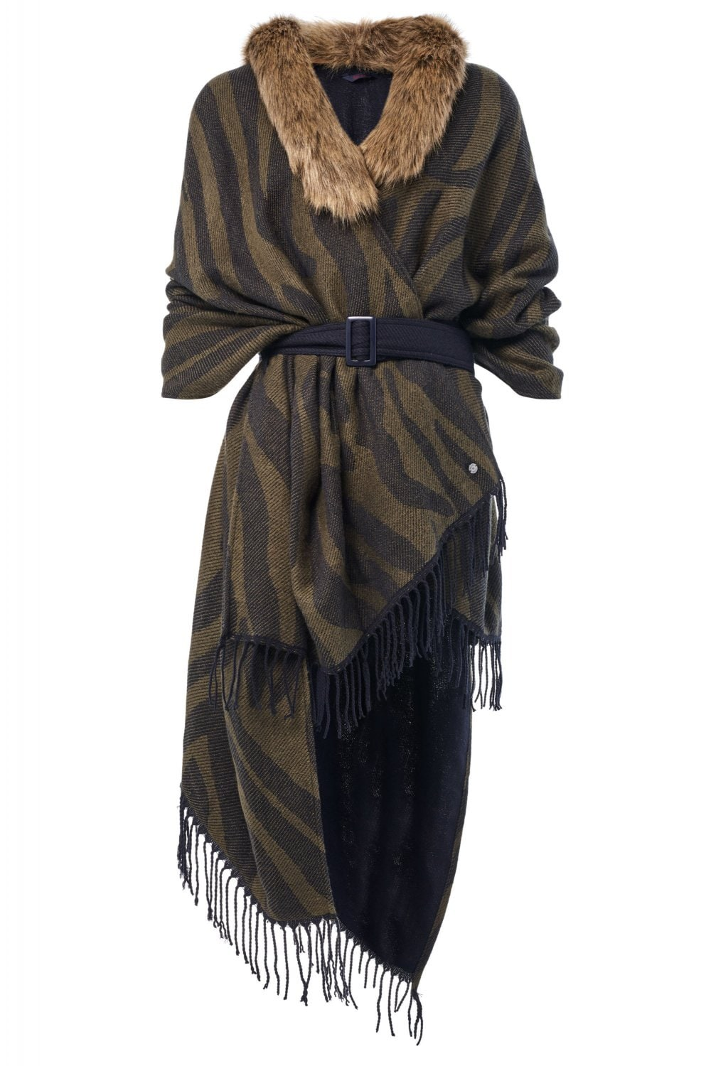 Belted cape with detachable faux fur - Salsa