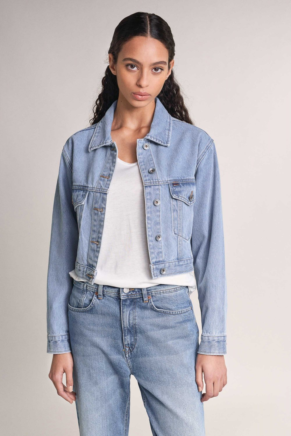 Cropped and oversize denim jacket - Salsa