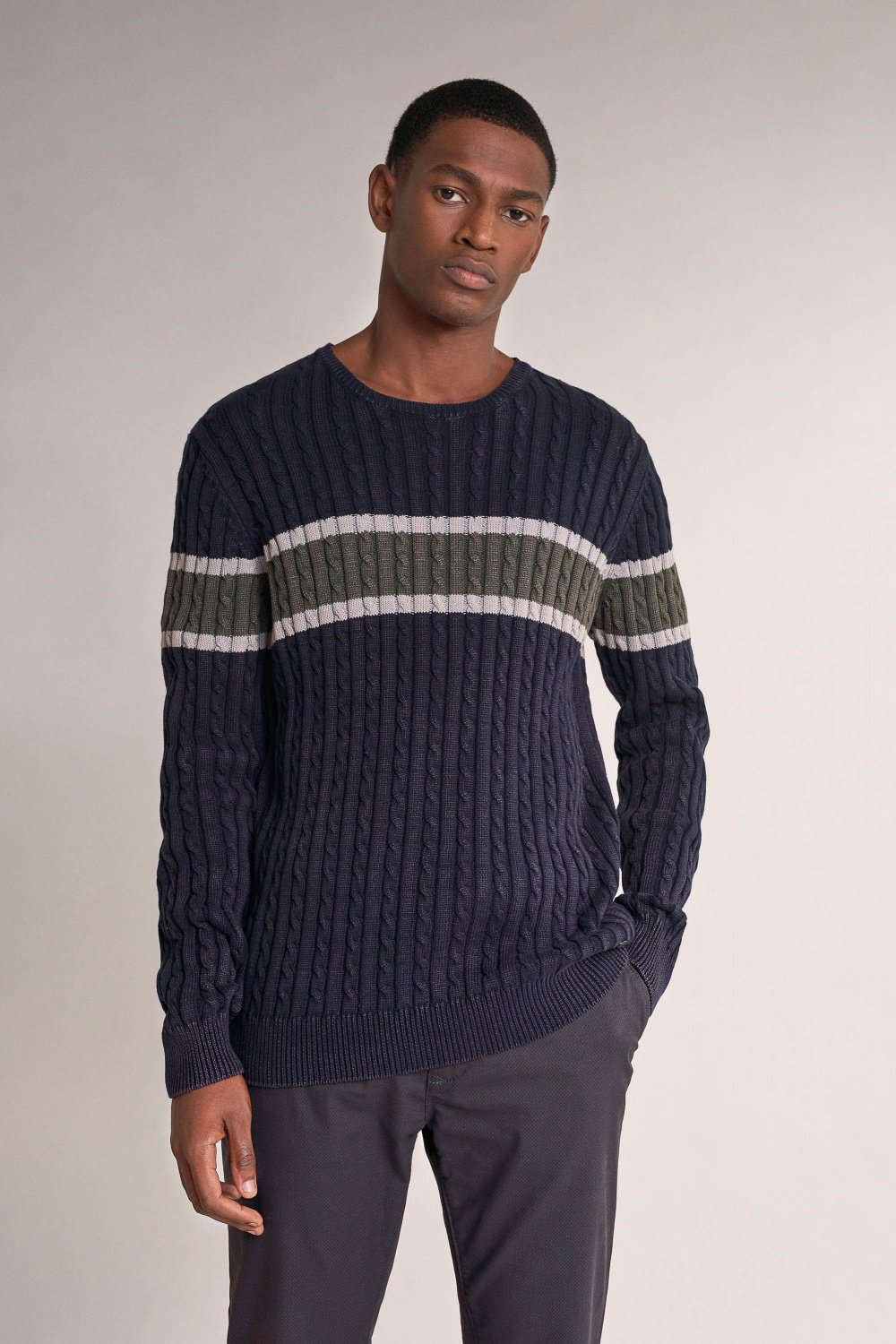 Thick sweater with strip on chest - Salsa