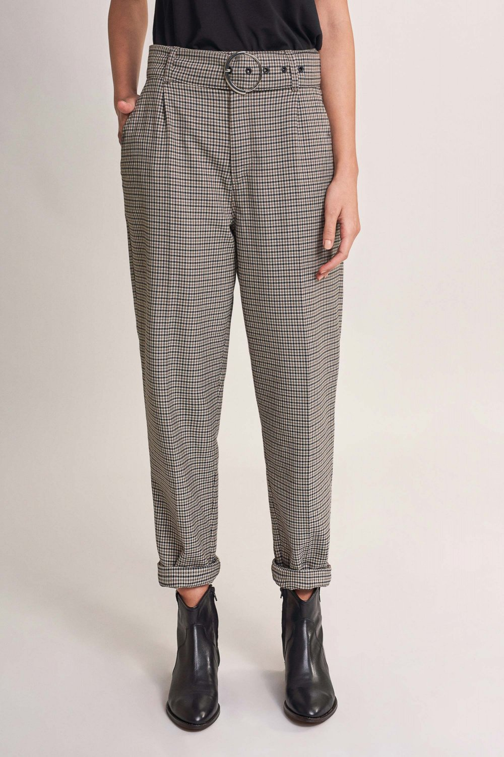 Boyfriend checked paper bag trousers with belt - Salsa