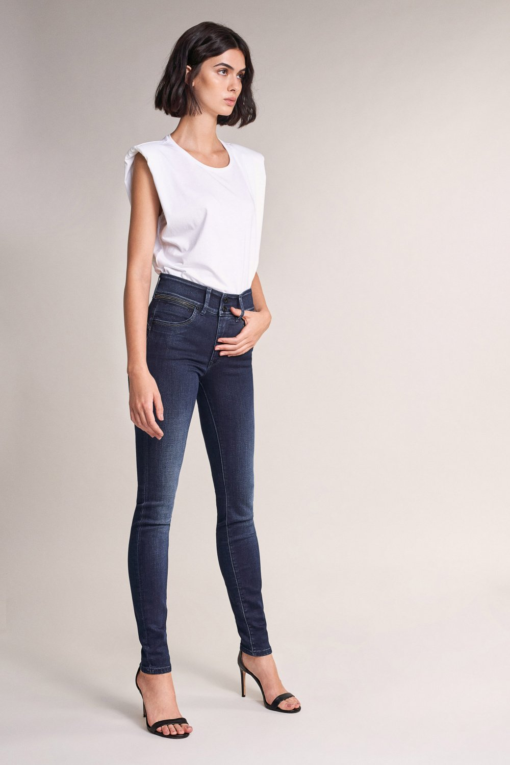 Jeans Push In Secret skinny brillant à la ceinture - Salsa