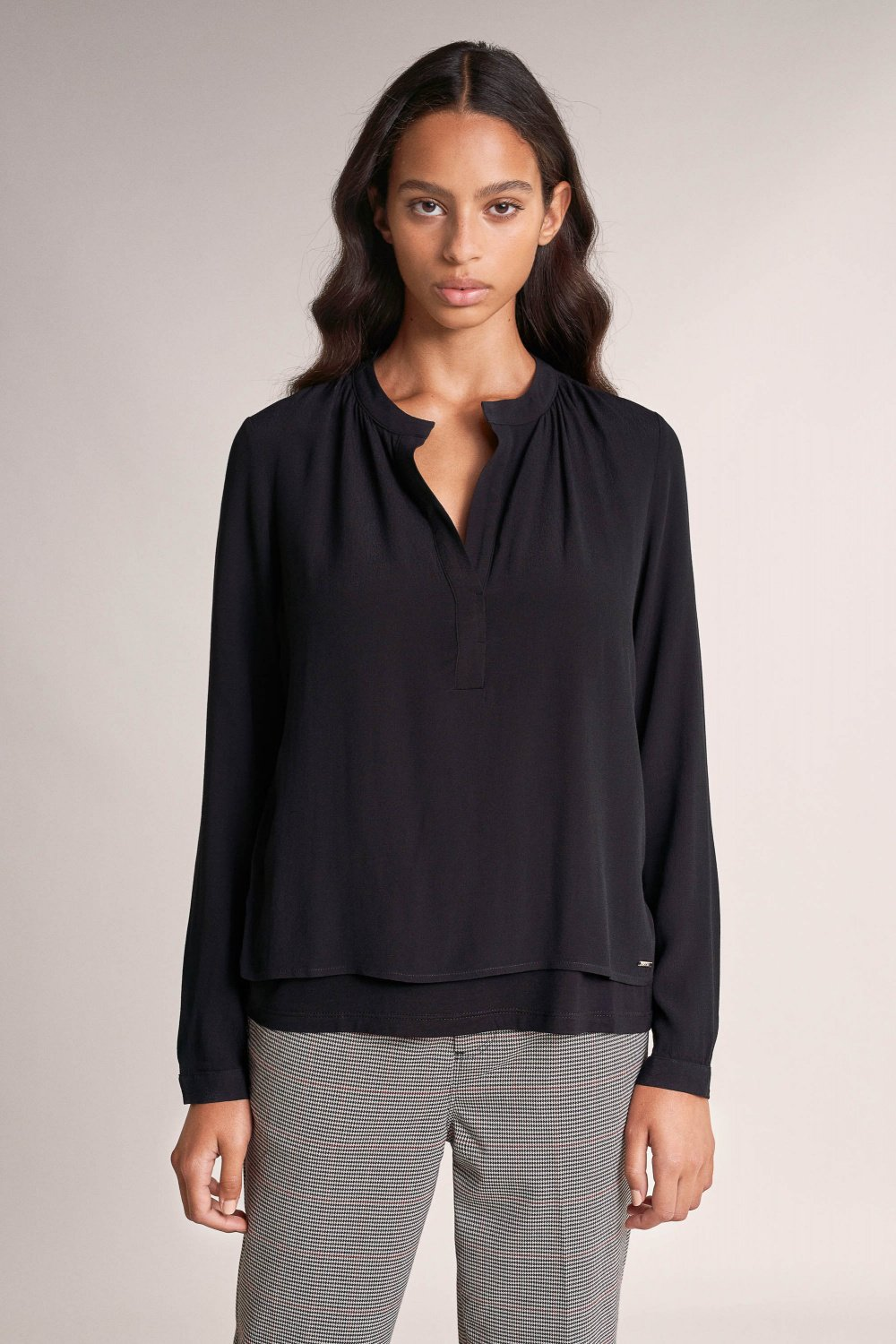 Jersey blouse in pleated fabric - Salsa