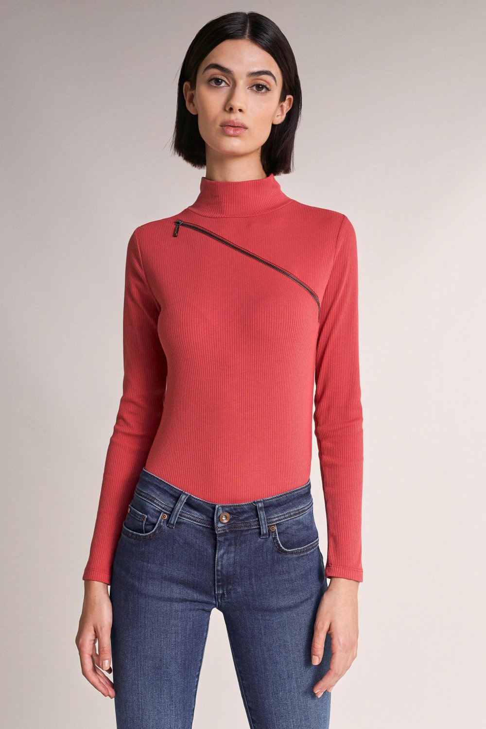 Knitted polo neck jersey with zip - Salsa