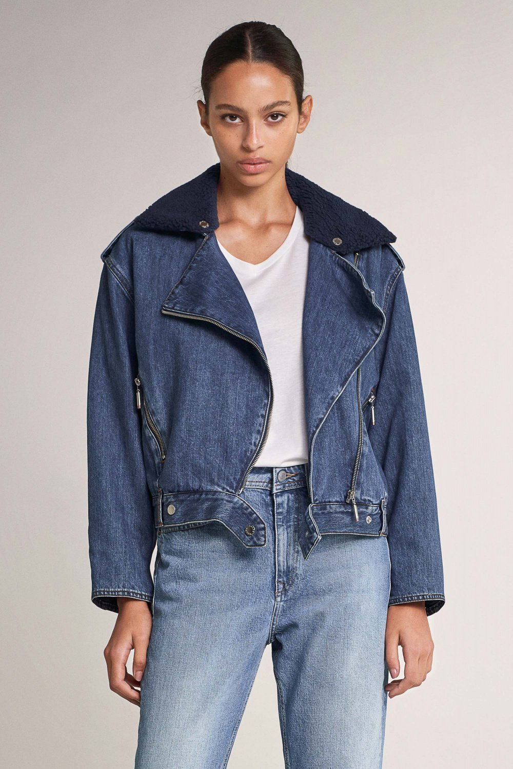 Oversize denim jacket with faux fur collar - Salsa