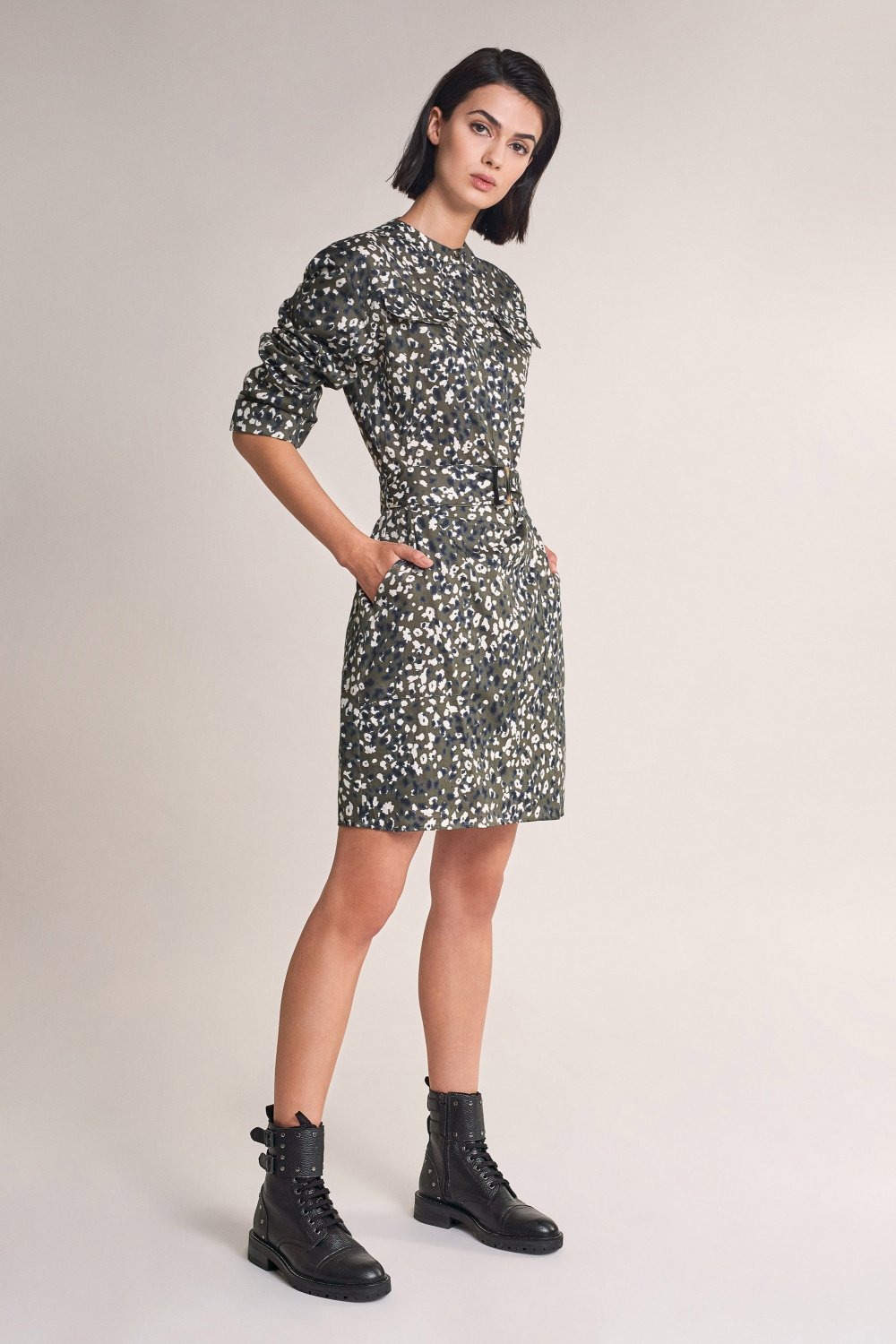 Allover printed dress with belt - Salsa