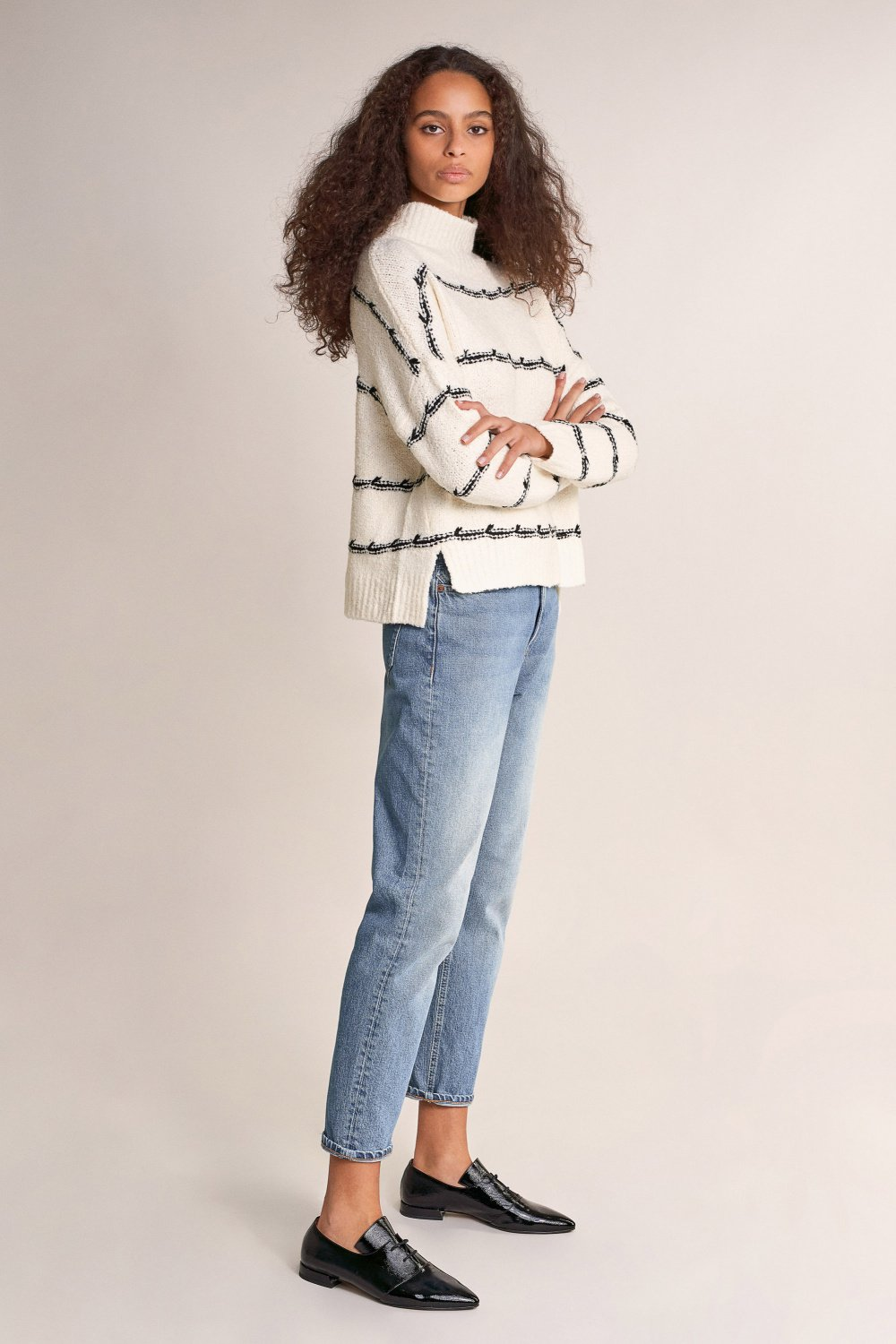 Polo neck striped sweater - Salsa