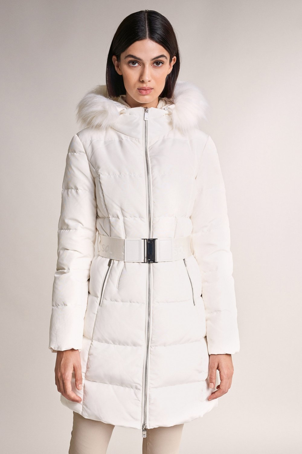 Long puffer coat with hood - Salsa