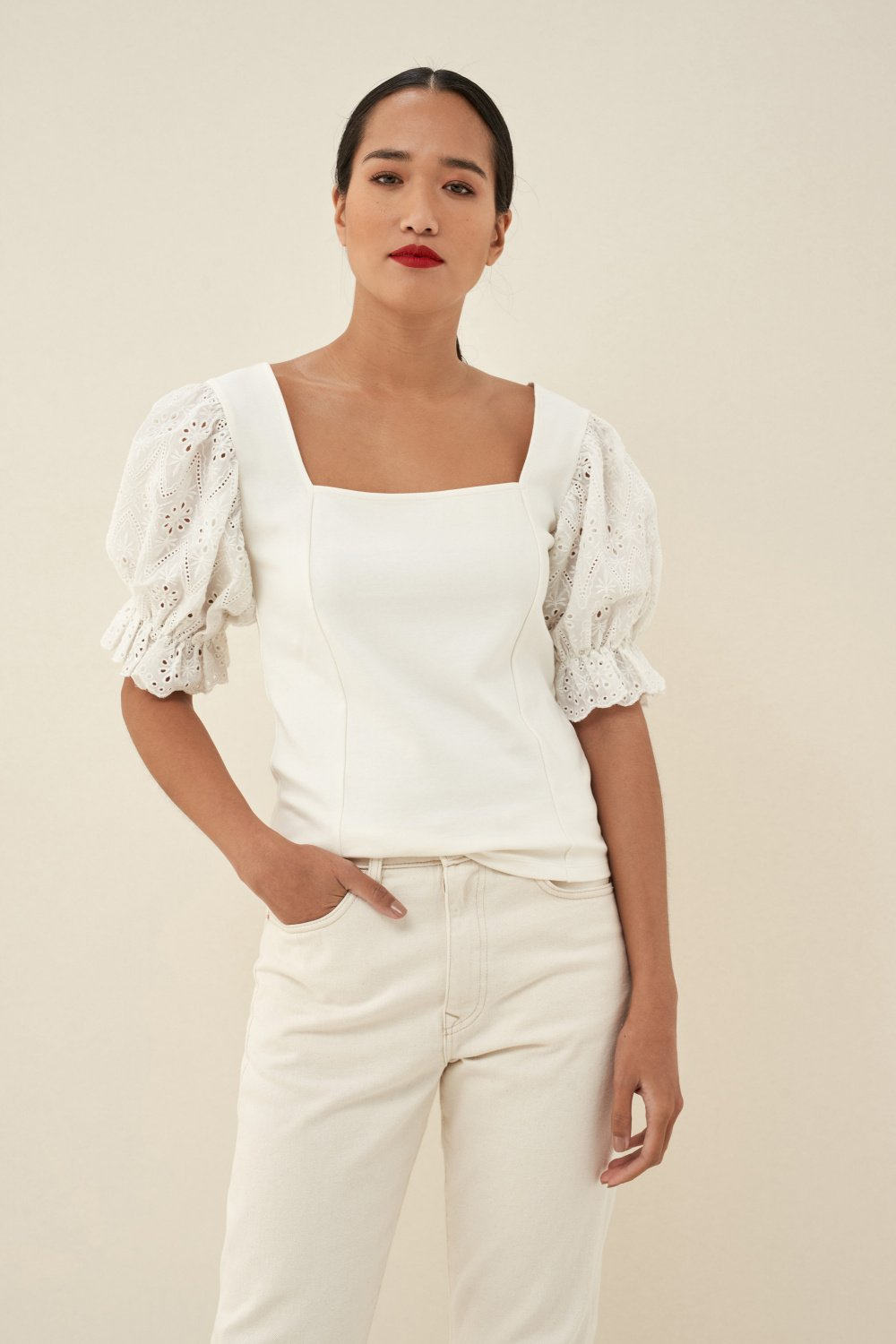Blouse with English embroidery on sleeve - Salsa
