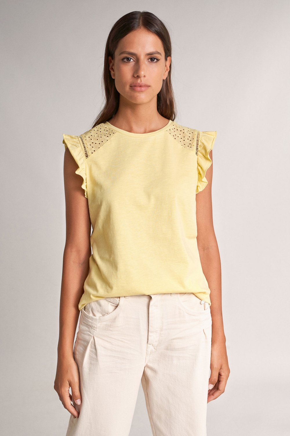 Top with lace and frills on sleeves - Salsa