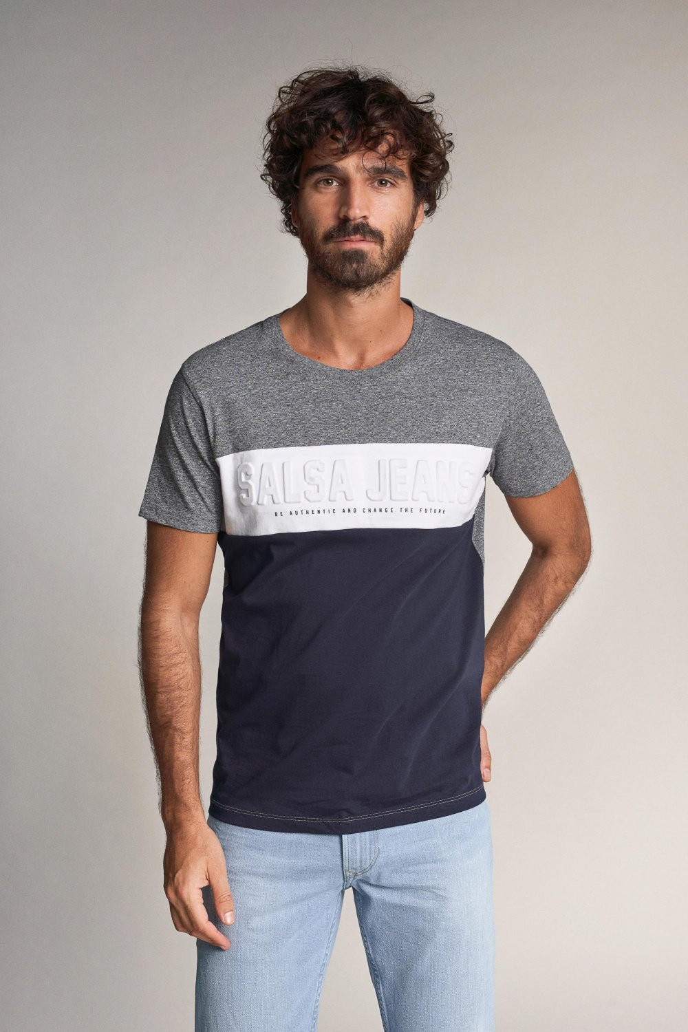 T-shirt with logo and pattern in colour panel - Salsa