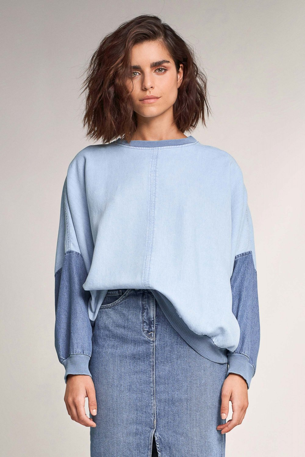 Premium Blue denim effect sweater - Salsa
