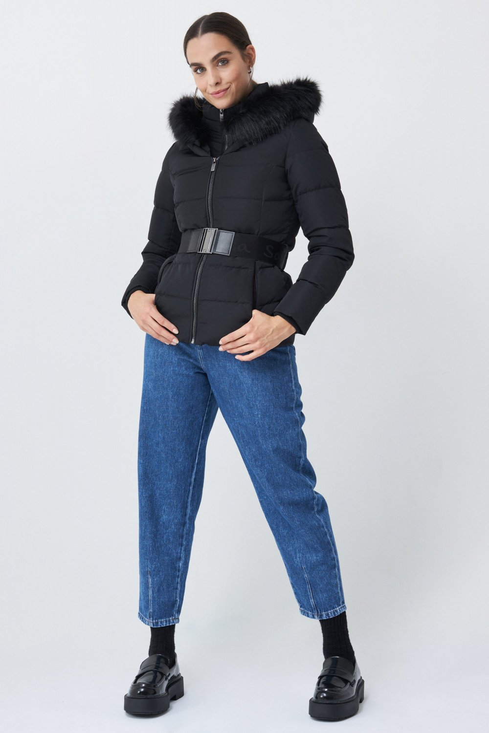 Puffer jacket with Salsa branded belt - Salsa