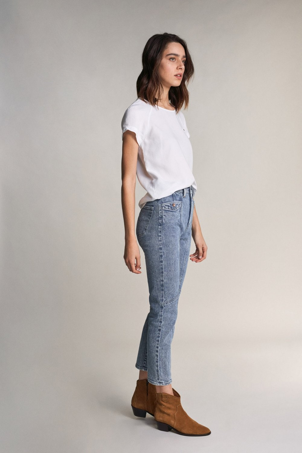 Elegant capri jeans with stitching on front - Salsa