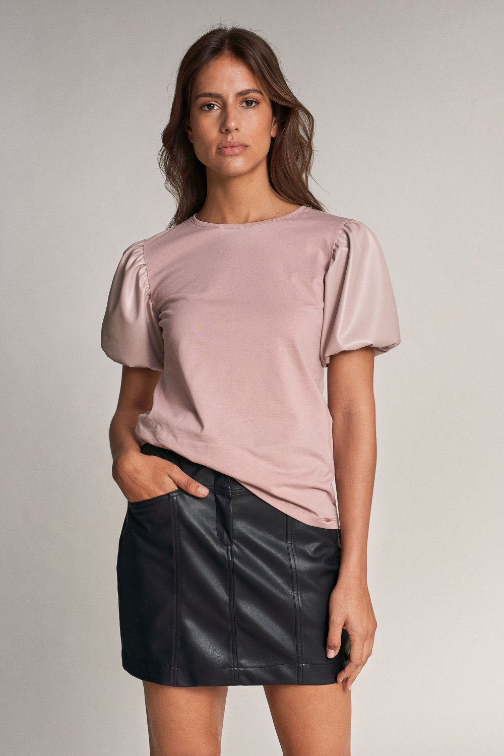 T-shirt with details in nappa - Salsa