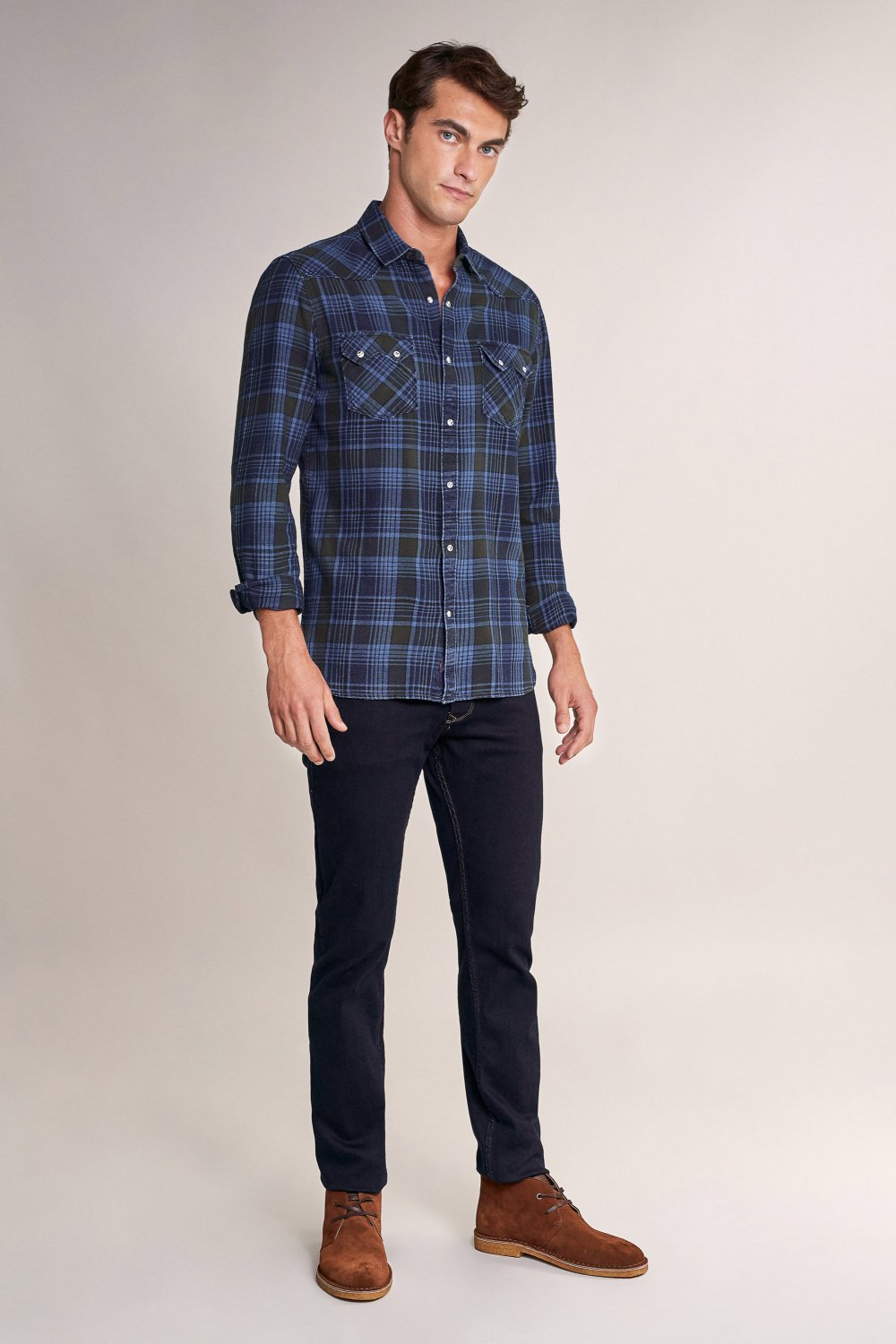 Slim fit long sleeve checked shirt - Salsa