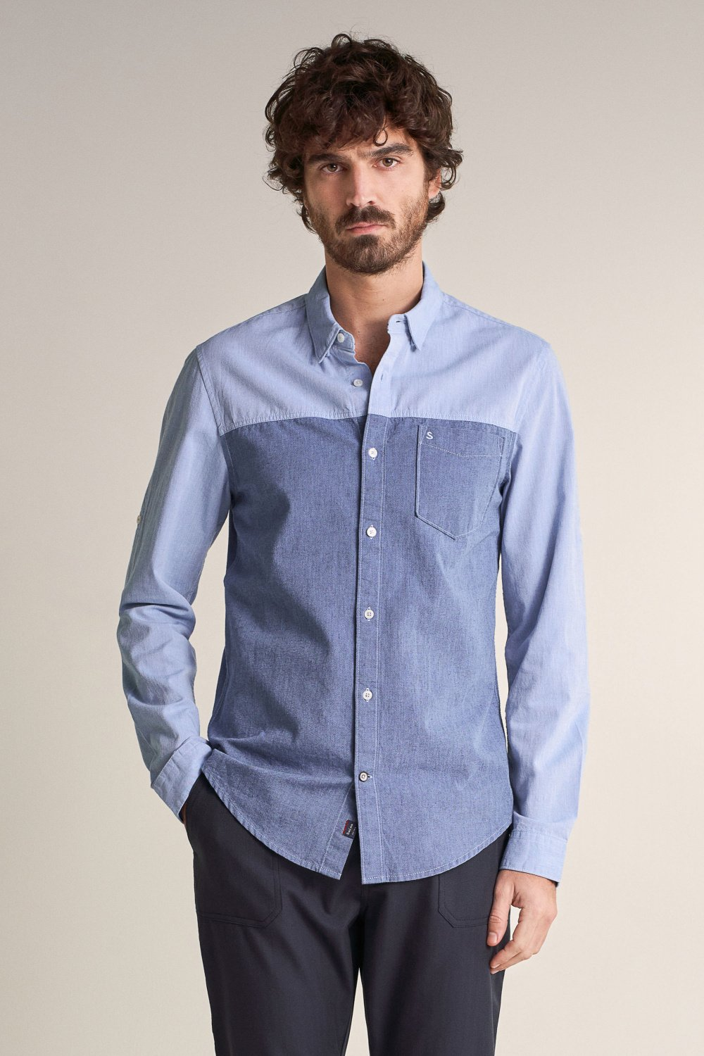 Slim fit long sleeve shirt made of cotton and denim - Salsa