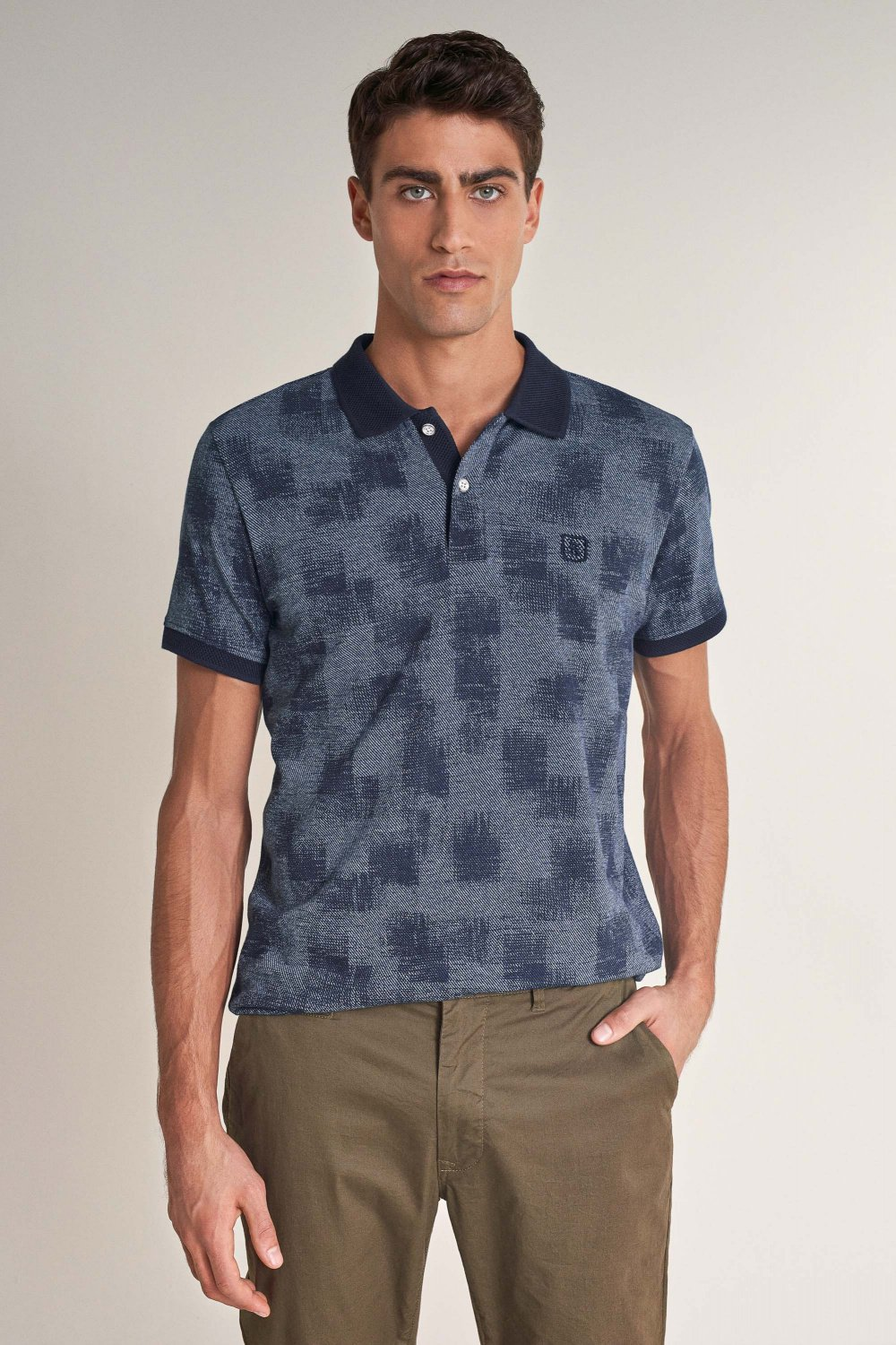 Regular fit polo with all-over design - Salsa
