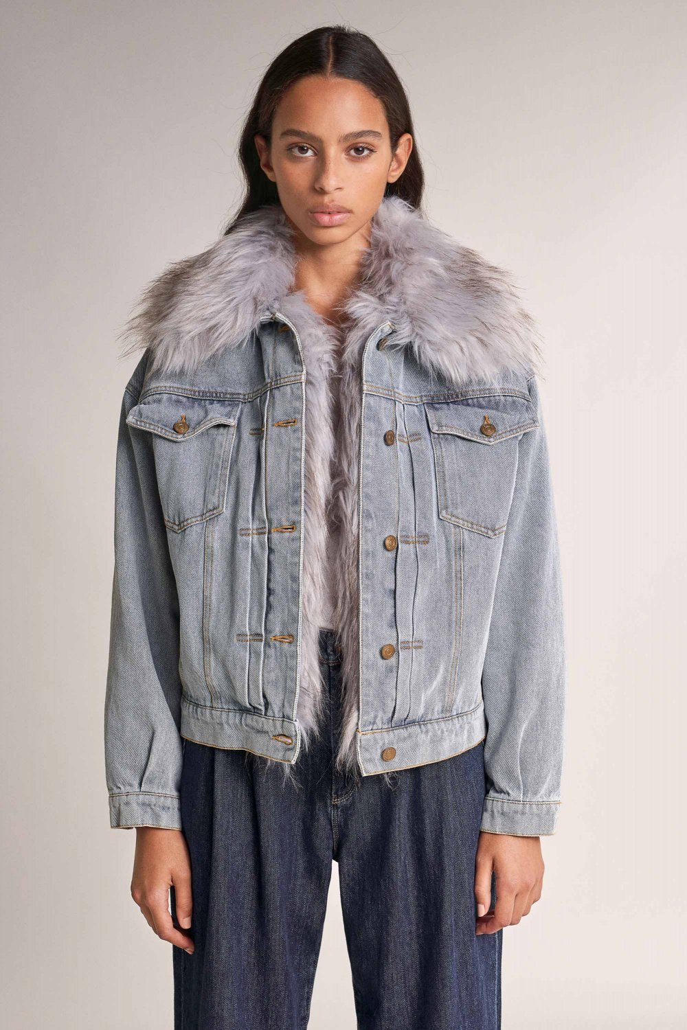 Denim jacket with faux fur - Salsa