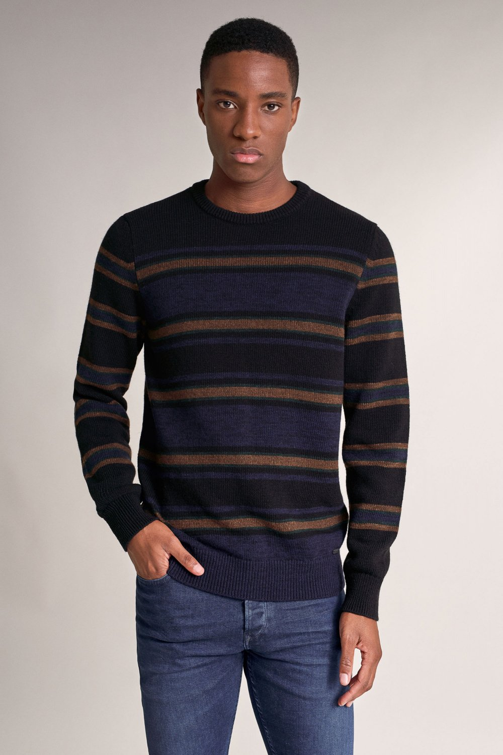 Thick knitted sweater with bar stripe effect - Salsa
