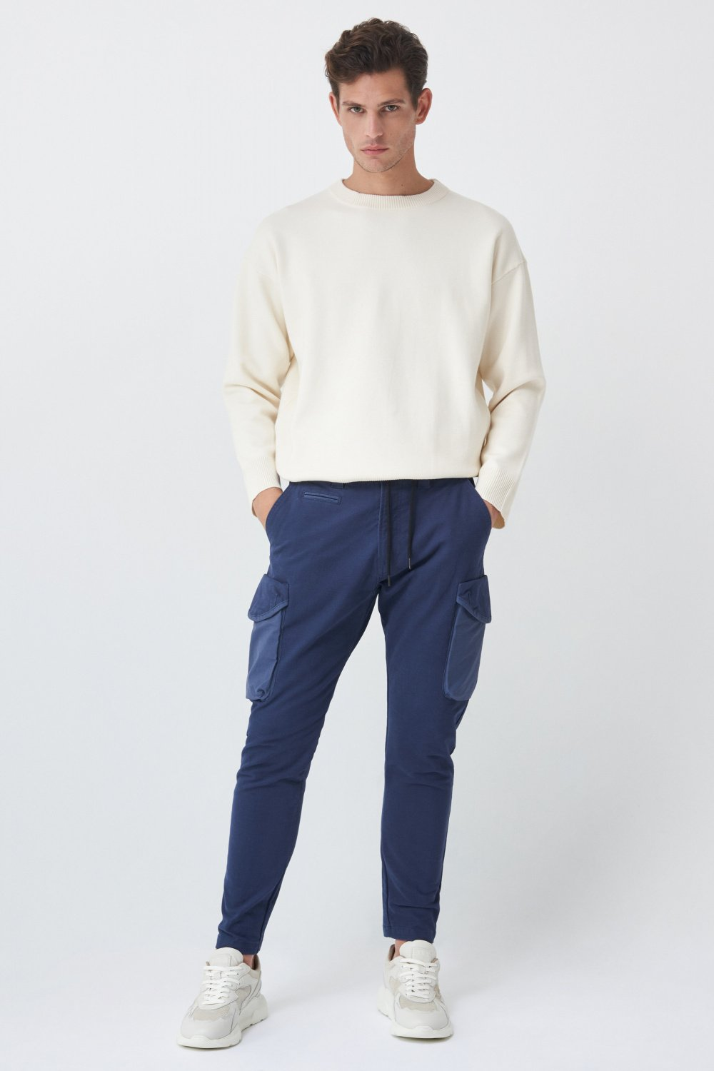 Karl Loose slim trousers in coloured fabric - Salsa
