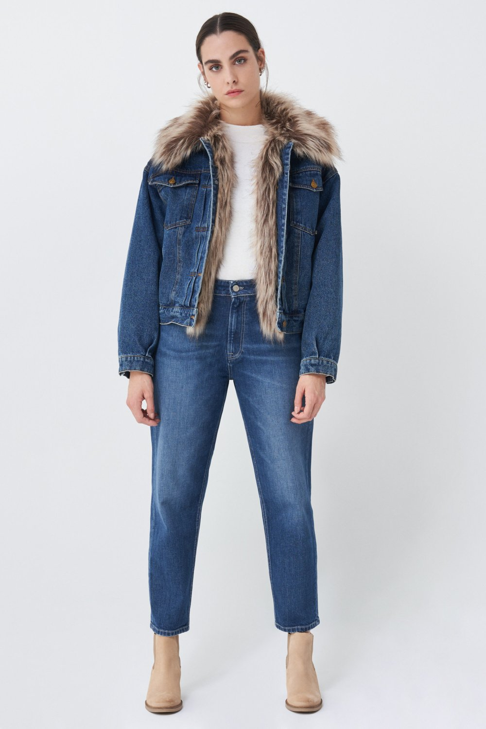 Oversize denim jacket with synthetic fur - Salsa