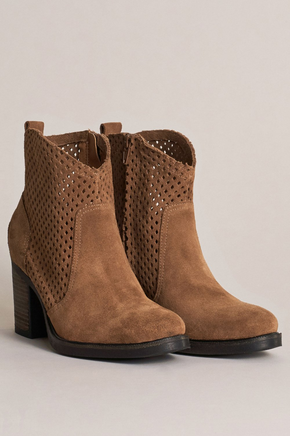 Perforated suede boot with a classic heel - Salsa