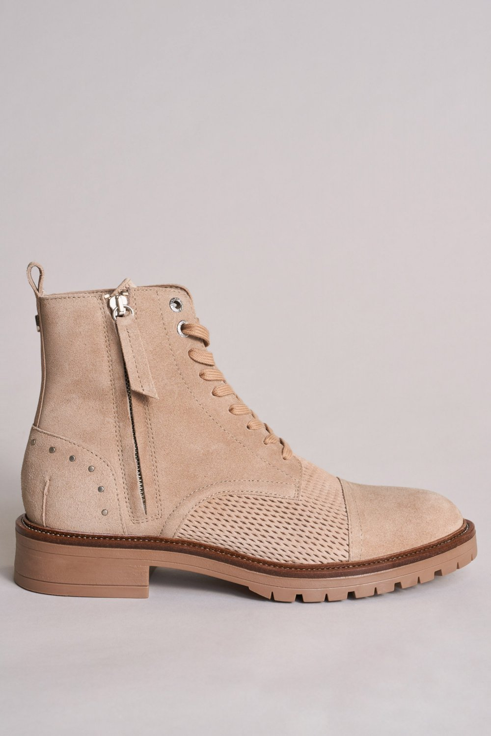 Perforated military-style suede boot - Salsa