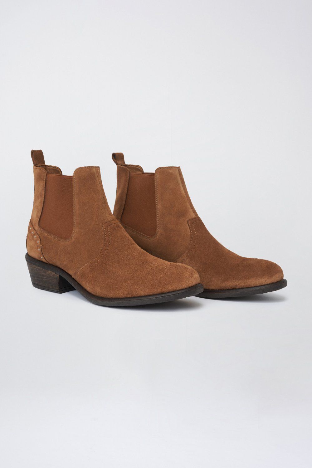 Suede ankle boot with stud detail and a low heel - Salsa
