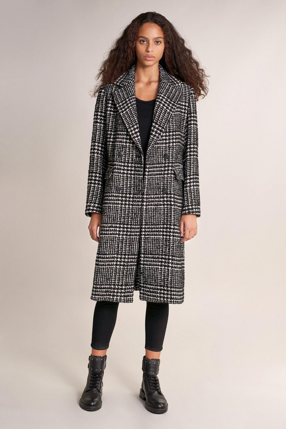 Overcoat with square design - Salsa