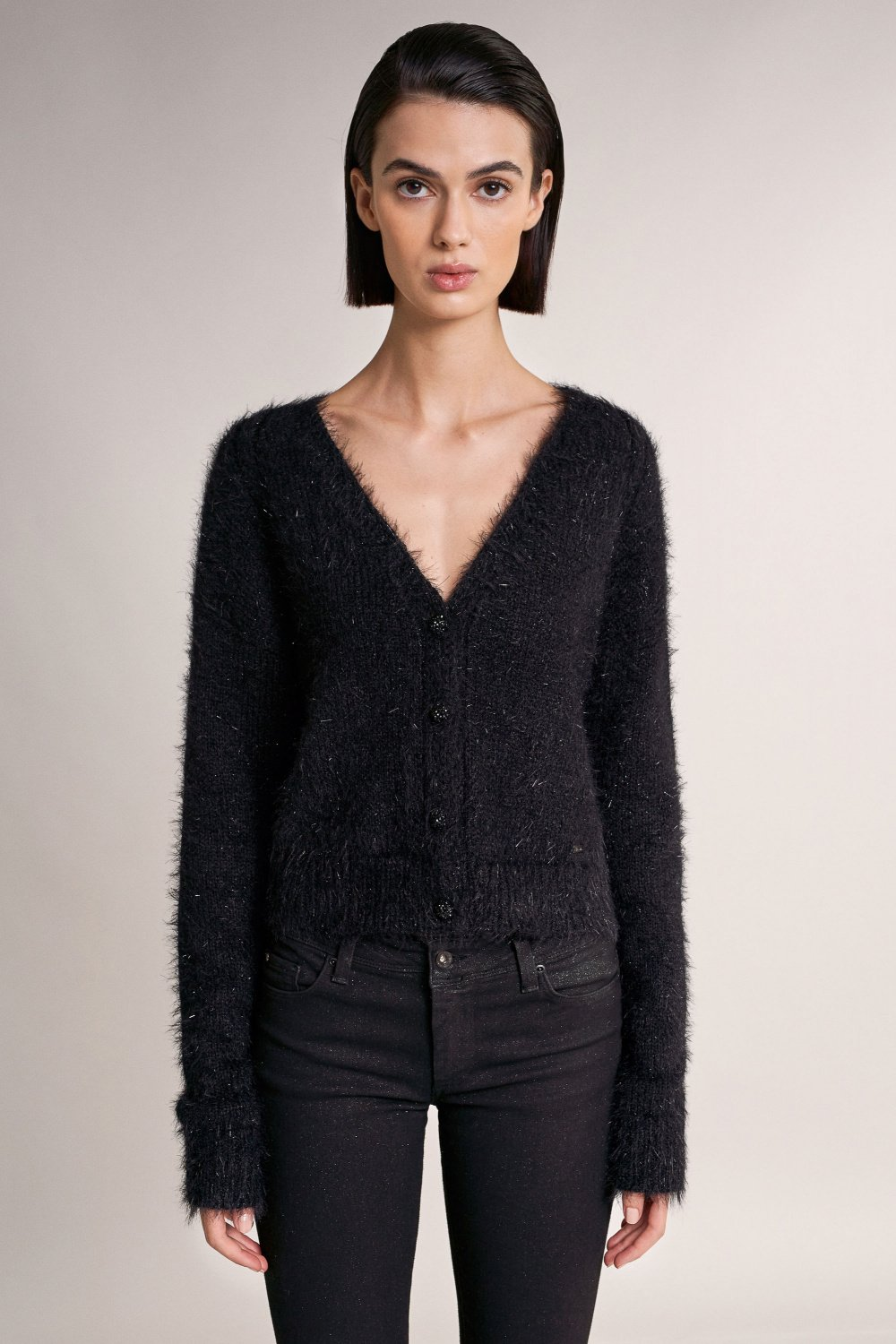 Mesh knit coat with buttons - Salsa